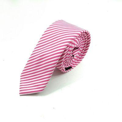 Krawatte slim gestreift pink-weiß