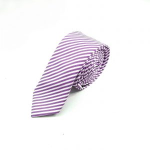 Krawatte slim gestreift lila-weiß