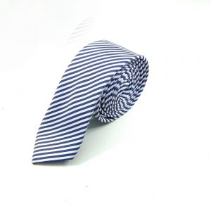 Krawatte slim gestreift blau-weiß