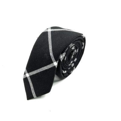Krawatte slim kariert schwarz-weiß