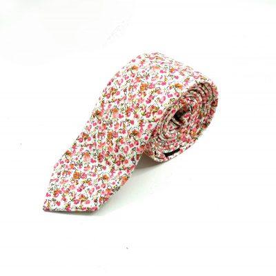 Krawatte slim geblümt weiß-pink