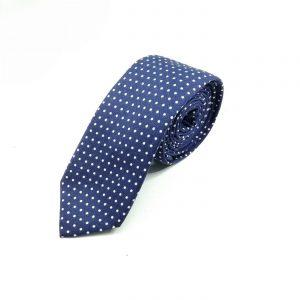 Krawatte slim gepunktet blau-weiß