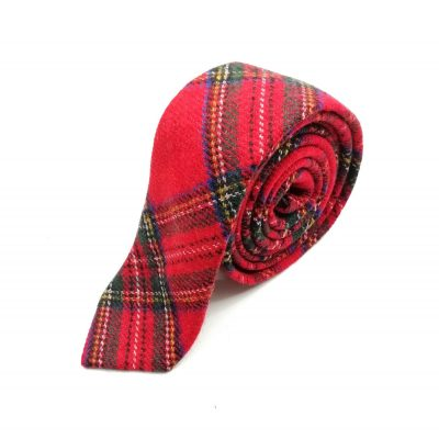 Krawatte slim Schottenoptik rot