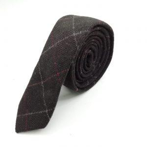 Krawatte slim feines Karomuster braun
