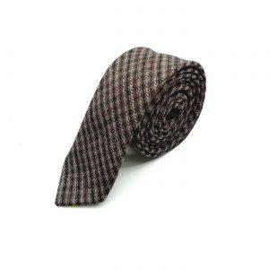 Krawatte slim kariert braun-bordeaux