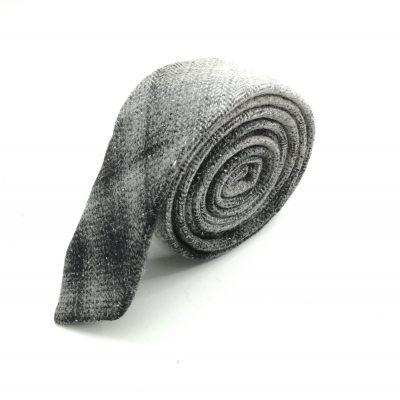Krawatte slim verblassendes Karomuster grau