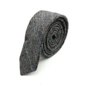 Krawatte slim Fischgräte schwarz-grau