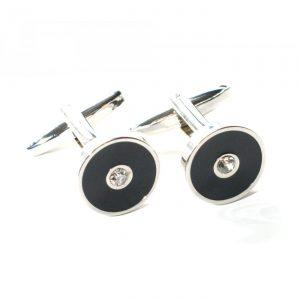 Manschettenknopf schwarzer Kreis mit Silberstein