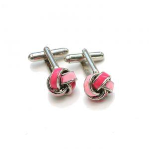 Manschettenknopf Knoten pink-silber