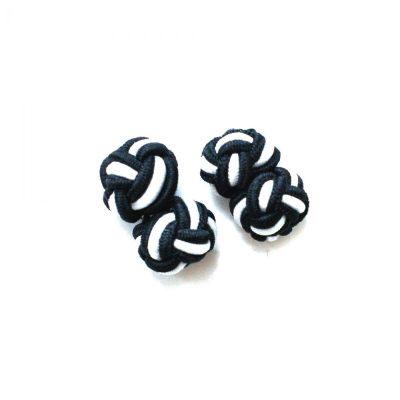 Manschettenknopf Knoten Schwarz-Weiß