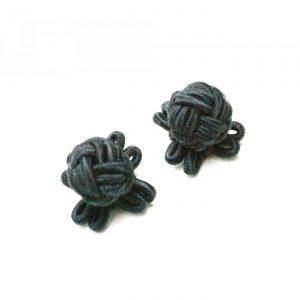 Manschettenknopf Knoten mit Stoffhalterung schwarz
