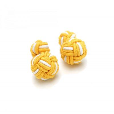 Manschettenknopf Knoten gelb-weiß