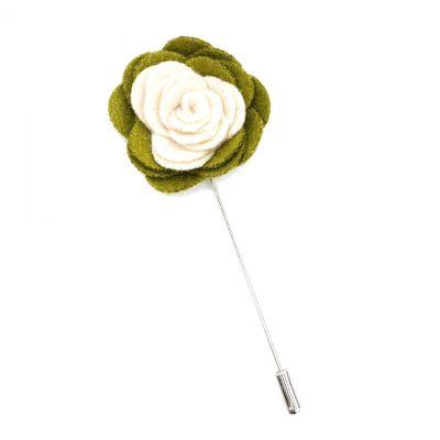 Pin Anstecknadel olivgrün-beige Blume