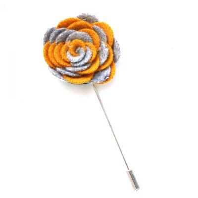 Pin Anstecknadel ocker-grau Blume