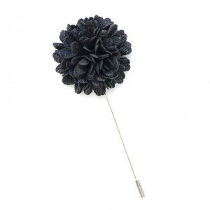 Pin Anstecknadel schwarz Blume