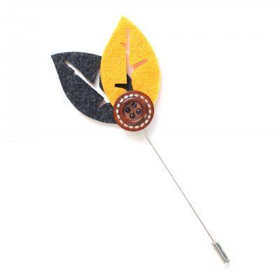 Pin Anstecknadel Blätter Knopf gelb-schwarz