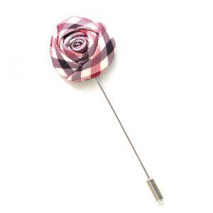 Pin Anstecknadel lila-rosa kariert Rose