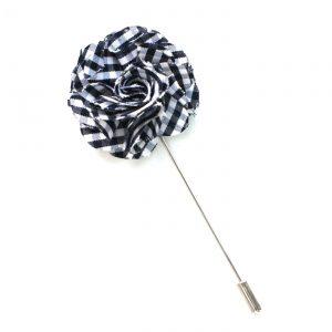 Pin Anstecknadel schwarz-weiß Blume